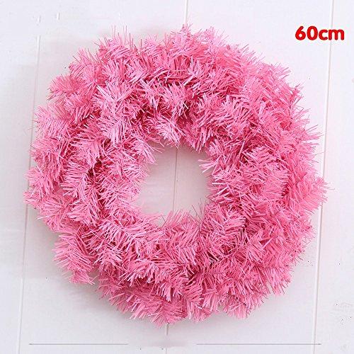 flashing lights- Rose PVC Guirlande de Noël Décorations ordinaire Feuilles Couronne de Noël ( couleur : Rose , taille : 60 cm )