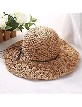 LVLIDAN Sombrero para el sol del verano Lady Anti-Sol Playa sombrero de paja plegable estilo Simple caqui
