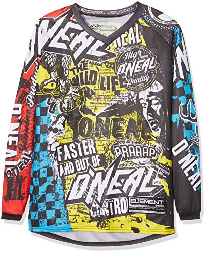 O\'Neal Element Kinder Jersey WILD Multi Moto Cross Mountain Bike Enduro Trikot MX MTB, 0025W-9, Größe Large