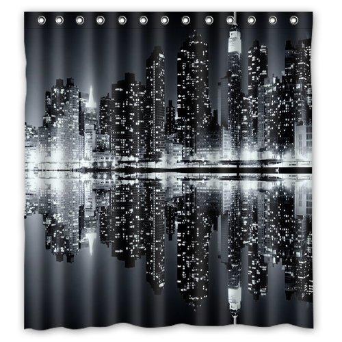 Owen Cocker Duschvorhang New York Skyline, wasserdicht, Polyester, 180 x 180 cm, Schwarz/Weiß