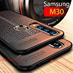 mobistyle Shockproof Leather Textured with Camera Protection Flexible Back Cover for Samsung M30 (Litchi Case)
