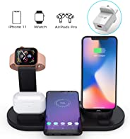 BOBOLONG Wireless Charger, 3 in 1 Wireless Charging Station for Apple Watch, AirPods,10W Qi Fast Wireless Charging Stand Doc