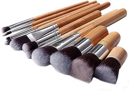 Skyblue-uk Kit De Pinceau Maquillage Professionnel 11PCS Bambou Pinceau Poudre Eyebrow Shadow Blush Fond De Teint Anti-Cerne