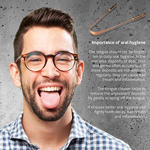 2 Zungenschaber zur Zungenreinigung aus reinem Kupfer von YOGAMEDIC – PREMIUM Zungenreiniger zum Mundgeruch bekämpfen – Frischer Atem – Zunge – Zungenbürste – Ayurveda gegen Mundgeruch - 5