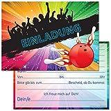 12 Einladungskarten zum Geburtstag / Kindergeburtstag / Party mit Motiv Bowling / Kegeln (Mit Einladungstext)