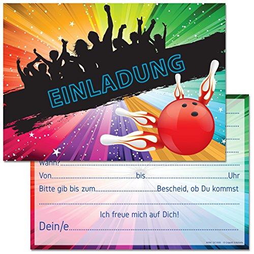 12 Einladungskarten zum Geburtstag / Kindergeburtstag / Party mit Motiv Bowling / Kegeln (Mit Einladungstext) (Bowling Geburtstag)