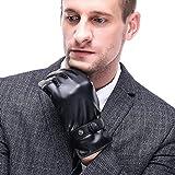 Herren PU Lederhandschuhe Touchscreen Handschuhe Warme Winterhandschuhe Herren Handschuhe Outdoor Handschuhe Warme (X-Large)