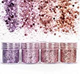 4 pcs Couleur Fard à Paupières,Mélangées Maquillage Professionnel Glitter Eyeshadow Mineral Yeux Eyeshadow Pigments Poudre,Paillettes Poudre Poudre Astuce Décoration Nail Art