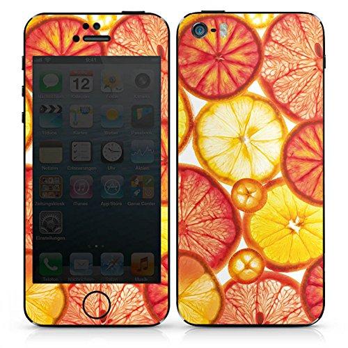 Apple iPhone SE Case Skin Sticker aus Vinyl-Folie Aufkleber Zitrone Orange Sommer DesignSkins® glänzend
