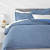 AmazonBasics Microfiber 3-Piece Quilt/Duvet/Comforter Cover Set - King, Gingham Plaid