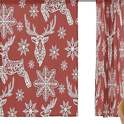 jstel Joyeux Noël Lot de 2voile rideau fenêtre, Cartoon Rouge Noël Elk cerf, en tulle Transparent Rideau Drapé Lit 139,7x 198,1cm deux panneaux de, Polyester, bleu, 55x84x2(in)