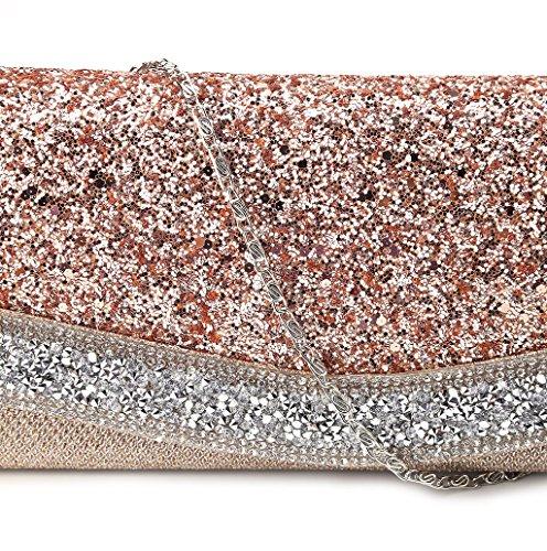 Dairyshop pochette giorno donne alla moda Donne Gilr borsa della cerimonia nuziale partito cocktail della sera (oro rosa) oro rosa