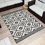 Wendeteppich »ETHNO« In- & Outdoorteppich Webteppich Sisal-Optik Flachgewebe modern, Größe:140x200 cm, Farbe:schwarz/creme