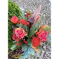 Grabstrauß /Gedenken / Muttertag frische Wachsrosen, Wunschfarbe Mischgrün