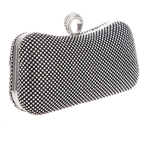 Bonjanvye Knuckle Clutch Bags with Studded Rhinestone Bag for Girls Silver Black