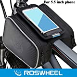 Roswheel Bike Frame Bag Shockproof Mountain Bike Front Frame Tube Saddle Bag with Dual Pouch for 5.5 inch Cellphone iPhone 6 6 Plus Samsung Sony HTC