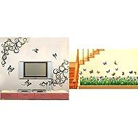Decals Design 'Lovely Butterflies' Wall Sticker (PVC Vinyl, 90 cm x 30 cm, Black) & StickersKart Wall Stickers Walking in The Garden Flower Border Design (Multicolor) Combo