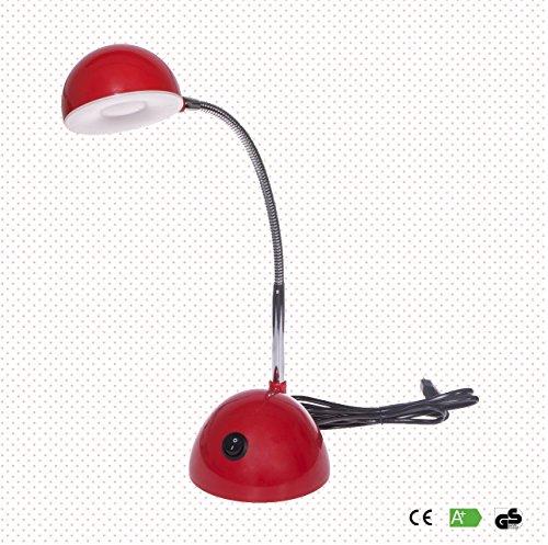 Emma ist eine rote Kinder Schreibtischlampe/Tischleuchte mit schwenkbarem Kopf und 350 Lumen starken LEDs, die ausreichend Lichtstärke auf den Schreibtisch bringen