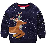 Little Hand Baby Girls Sweatshirt Christmas Xmas Jumper Kids Cute Long Sleeve Cotton Pullover Tops Toddler Tees for Age 1-7 Y