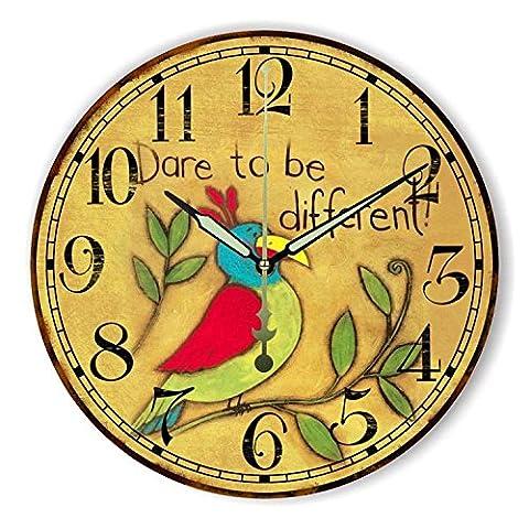 Damjic Salon Rural Européen Horloge Horloge Murale Mute Rétro Décoration Simple Horloge Murale Pour Chambre D