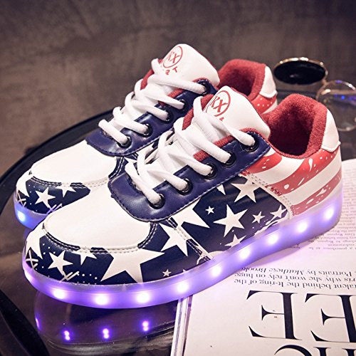 DoGeek - Chaussure Basket Lumineuse - Homme Femme - 7 Led Colorful Lumière -Usb Rechargeable Rouge