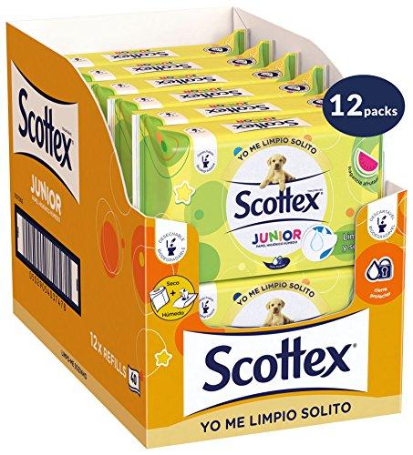 Scottex Junior Papel Higiénico Húmedo - 12 packs de 40 uds (480 unidades)