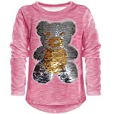 Kinder Mädchen Wende-Pailletten Lang Shirt Bluse Langarm Sweat Shirt Mini 21061 Pink Größe 152