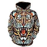 Sylar Sudaderas Hombre Tendencia De Moda Estampado De Tigre 3D con Capucha Manga Larga Suelto Bolsillo Outwear Jersey Casual Pullover