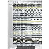 iDesign Aztec Duschvorhang Textil | wasserdichter Duschvorhang aus Stoff mit Azteken-Muster l verstärkte Löcher | auch als Badewannenvorhang nutzbar | Polyester grau/dunkelgelb