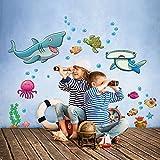 kina R00342 Stickers muraux pour Enfants imprimé sur papiers Peints - Requins Heureux
