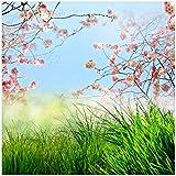Wallario Möbeldesign/Aufkleber, geeignet für Ikea Lack Tisch - Kirschblütenzweige und grüne Wiese- Frühling in 55 x 55 cm