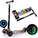Mumoo Bear Kids Scooter 3 Wheel Mini Adjustable Kick Scooter with LED Light Up Wheels(Black Yellow)