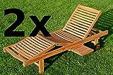 ASS 2x ECHT TEAK Sonnenliege Gartenliege Strandliege Holzliege Holz vielfach verstellbar mit Tischablage sehr robust Modell: 2xJAV-COZY von