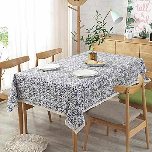 Meiosuns Tischdecken Blau und Weiß Porzellan Tischdecke Baumwolle Leinen Tischdecke Rechteck Staubdicht Tischdecke für Abendessen Picknick Top Dekoration (140×180cm, Blau und weiß) - Blau Rechteck Tischdecke