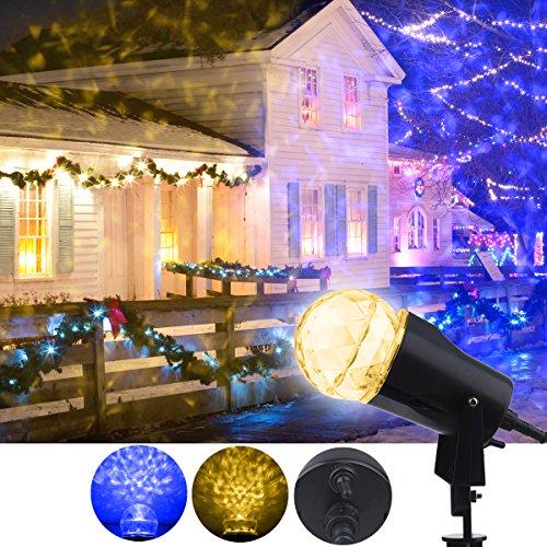 ED Projektor Licht Scheinwerfer Rotierende Kaleidoskop Lampe mit Flamme Lightings Farben Schaltbare für Garten, Outdoor, Weihnachten, Party, Hochzeit, Deko in Innen und Außenbereich (Warm Blau) (Outdoor-licht-projektor Halloween)