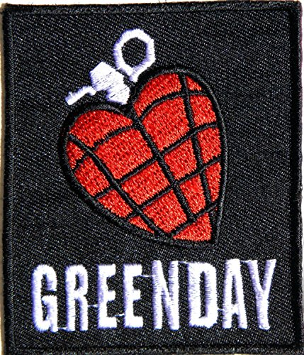 Aufnaher GREEN DAY HEART GRENADE Heavy Metal Rock Punk Music Band Logo Polo T shirt Patch Sew Iron on Embroidered Badge Sign Costum Size 2.5