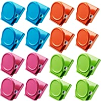 16Pcs Magnetic Metal Clip, Multi Colour Refrigerator Whiteboard Memo Note Magnets Clips for Office, Home Kitchen, School…