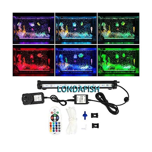 LONDAFISH Aquarium Air Bubble Lights LED Fish Tank Light Lighting Remote Control 3.8W/5.8W 16 Colors (3.8W)