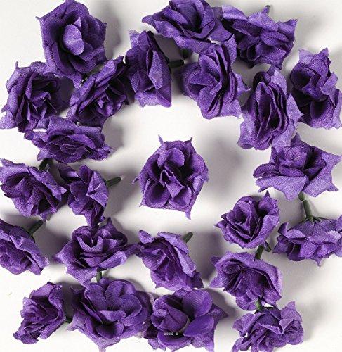 Artif-deco - Tetes de rose artificielle x 12 bleu royal d 5 cm pour boule de rose
