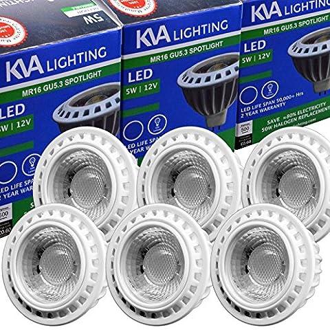 KVA LIGHTING Lot de 6 COB ampoules LED MR16 GU5.3, 5W 12V DC Only, lumière ultra-brillante 500 Lumens, 5 W (50 W), Dimmable, Lumière Blanc du jour 6000K