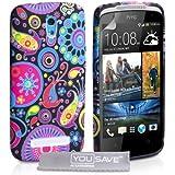 HTC Desire 500 Hülle Mehrfarbig Quallen Silikon Schutzhülle