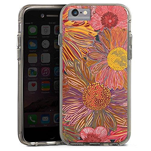 Apple iPhone X Bumper Hülle Bumper Case Glitzer Hülle Sonnenblume Red Rot Bumper Case transparent grau