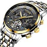 Herrenuhren Top Luxusmarke LIGE Mode mechanische Uhr Herren wasserdicht Edelstahl Business-Uhr schwarz Gold Armbanduhr