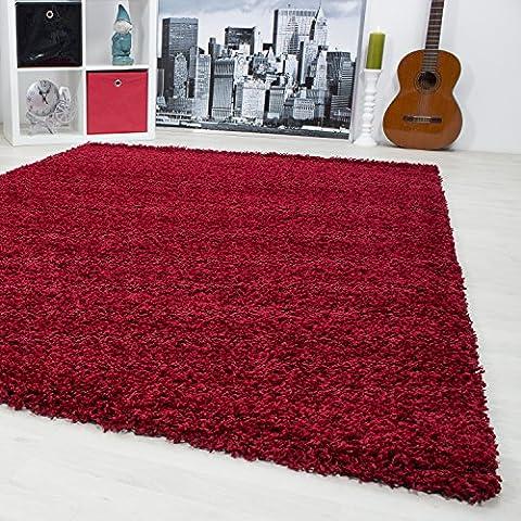 Teppiche für Wohnzimmer, Esszimmer oder Gästezimmer hochflor shaggy einfarbig Teppiche mit 3 cm Florhöhe 1500, Maße:60x110 cm, (Teppich Rot)