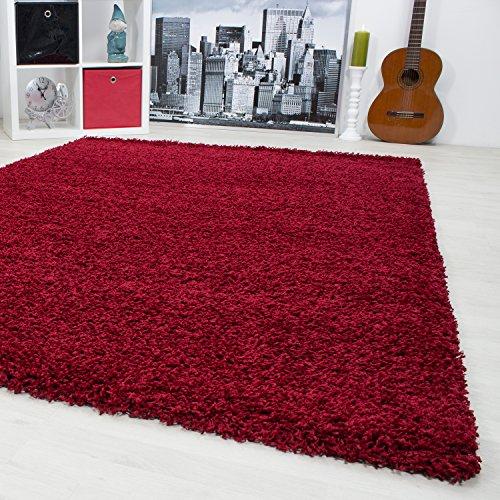 Outdoor-rot-teppich (Teppiche Hochflor Shaggy für Wohnzimmer, Esszimmer. Gästezimmer mit 3 cm Florhöhe. Einfarbig Shaggy Teppiche OEKOTEX zertifizierte Teppiche. Cream Braun Lila Rot Anthrazit Taupe Mocca. Verschiedene Farben und Größe 1500, Maße:80x150 cm, Farbe:Rot)
