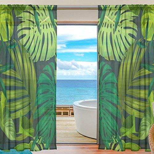 DOSHINE Vorhang Hawaii Tropische Palmenblätter grüne Vorhänge Fenster Vorhang für Jungen Mädchen Wohnzimmer Badezimmer Schlafzimmer 139,7 x 198 cm 2 Panels, Polyester, Multi, 55