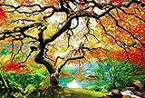 PICMA Leinwandbild Nachtleuchtend Baum Ahorn Im Herbst, Wand-Deko Leinwand Groß Wohnzimmer, Fluoreszierende Nachtleuchtende Wanddekoration Modern, 1 x Leuchtbild 60 x 90 cm