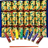 Crackers Ltd Musical Craquelins with Mini Xylophones - Holly and Berry Design on Gold (Cat F1)
