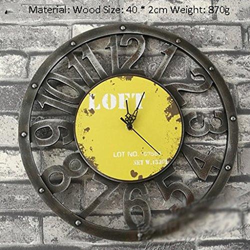 Flashing- Retro Industrial Winds Loft Wanduhr Taschenuhr Home Bar Restaurant Shop Gear Uhren und Uhren ( Farbe : Gelb ) (Küche Gear)