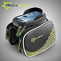 MaMaison007 Borsa sella borsa Smartphone Pannier borsa tubo anteriore bicicletta bici ROCKBROS - giallo M - Biciclette Pannier